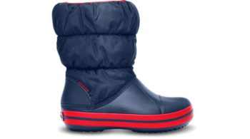 Crocs Winter Puff Boot Kids Navy Red 14613-485