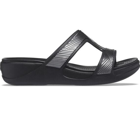 Crocs Monterey Metallic Slip On Wedge Black 207144 - 001