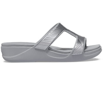 Crocs Monterey Metallic Slip On Wedge Light Grey 207144 - 007