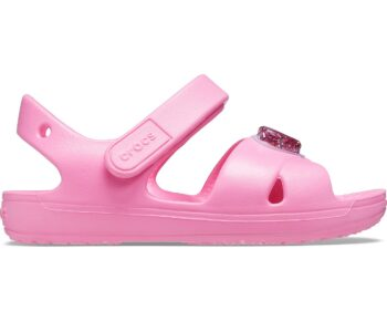 Crocs Kids' Classic Cross-Strap Charm Sandal Pink Lemonade 206947 - 669